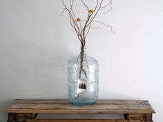 Vintage Blue Glass Water Jug - 5 Gallon Bottle, Large Floor Vase, Industrial, Minimalist, Carboy. $86.00, via Etsy.
