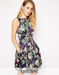 Closet Skater Dress in Botanical Floral Print
