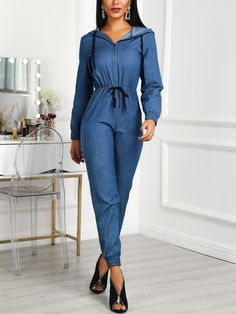 Denim Zipper Up Drawstring Long Sleeve Jumpsuit Online Shopping For Women, Womens Fashion Online, Suit Fashion, Sleeve Styles, Amazing Women, Look, Women's Clothing, Cosplay, Lingerie