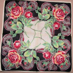 Black bordered hankie with ribbon and roses