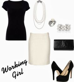 Work Outfits | Working Girl  T Shirt, MAX MARA skirt, Wink Wink Shoes, Yves Saint Laurent clutch  by wonderland449