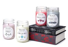 """Literature-themed candles in delicious scents like """"Pemberley,"""" """"Thornfield Garden,"""" and """"22B Baker Street."""" 
