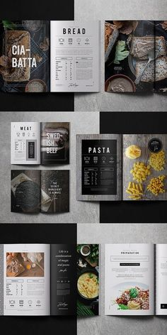 Cookbook / Recipe Book Cookbooks Everyone Needs in Their Kitchen Are you a budding chef that needs a recipe book to showcase your delicious creations or possibly a restaurant that wants to convert thi. Magazine Layout Design, Book Design Layout, Menu Design, Food Magazine Layout, Menu Layout, Book Layouts, Logo Design, Graphic Design, Recipe Book Templates