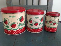 Antique Wolverine Tin Toy Canisters Strawberry Design 1940s Collectible Kitchen Decor Doll Collectibles