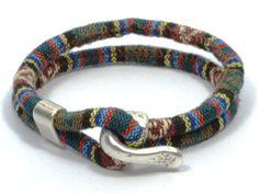 multicolor green fabric bracelet * green ethnic bracelet * men nautical bracelet * anniversary gifts for men * gifts for boyfriend by CozyDetailz on Etsy