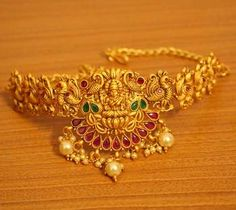 Multicolour Gold Look Temple Jewellery Bajuband - Sanvi Jewels Pvt. Gold Bangles Design, Gold Earrings Designs, Gold Jewellery Design, Handmade Jewellery, Necklace Designs, Antique Jewellery, Fashion Jewellery, Gold Fashion, Fashion Necklace