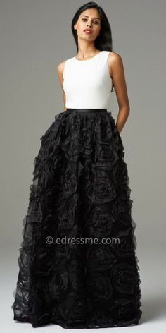 This divine evening dress from Aidan Mattox features a delicate black rosette skirt and a perfectly fitted ivory bodice....]