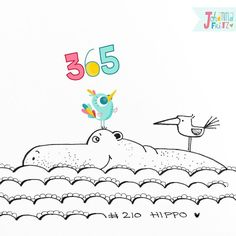 Doodle 210/365: Hippo #365doodleswithjohannafritz  No hippo without a bird  by byjohannafritz