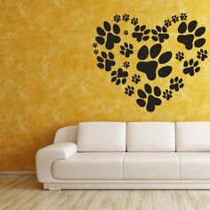 Paw Prints, Shaped Heart, Love Your Pet, Decal, Vinyl, Sticker Decor | VinylWallAccents . $32.00 @Artfire.com