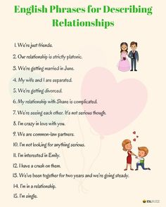English Phrases for Describing Relationships - ESLBuzz Learning English Slang English, English Vinglish, English Phrases, English Study, English Grammar, English Tips, Learn English For Free, Learn English Words, Esl Lessons