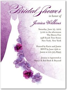 So I finally chose my bridal shower invites. Here it is! I think it's so pretty, and goes perfect with my theme which will be purple and floral. Can't wait until they arrive! :)