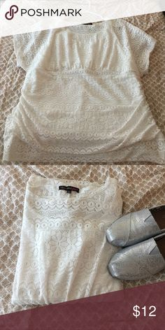 White top Lace like white top. Womens plus 1x size. Heartsoul Plus Tops Blouses