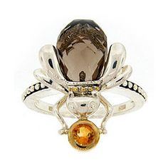Meredith Leigh Sterling Silver Smokey Quartz and Citrine Bee Ring (polyvore)