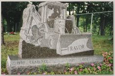 Bulldozer Gravestone ~j Cemetery Monuments, Cemetery Headstones, Cemetery Art, Cemetery Statues, Unusual Headstones, Gardens Of Stone, Church Pictures, Effigy, Head Stone