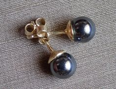 Ohrstecker Gelbgold Hämatit Belly Button Rings, Pearl Earrings, Pearls, Shop, Ebay, Jewelry, Stud Earring, Yellow, Tag Watches