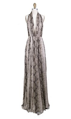 Snakeskin Print Silk Halter Dress