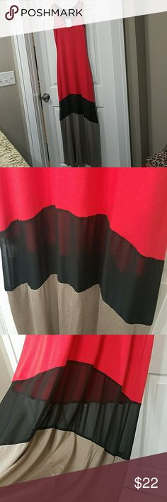 """Maxi Dress New with tags. Never worn. Red, taupe, and black. Measures on hanger from top to hem approx 58"""". Black band in the lower portion of dress is a sheer material as seen in pic. Green Envelope Dresses Maxi"""