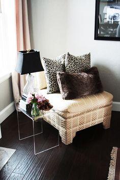 Black, gold, lucite,leopard, fur,chevron,dark wood floors