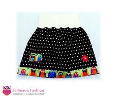 Mädchenock Dehnbund Eule Owl  Dots Punkte von Zellmann Fashion auf DaWanda.com