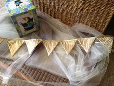 Gold Chevron Fabric Holiday banner with 4 flags by GramsCozyCorner, $20.00