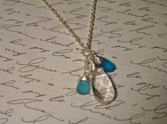 Wearing Raindrops Long Charm Necklace Blue Frosted by SimplyMim, $26.00