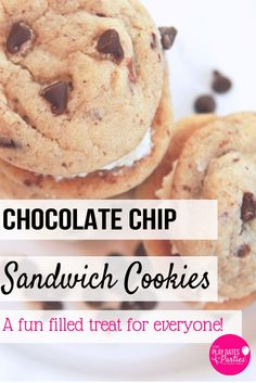 On their own, or dipped in chocolate with sprinkles, chocolate chip cookie sandwiches are a fun and indulgent treat for the whole family. http://playdatesparties.com/12-days-of-christmas-cookies-chocolate/