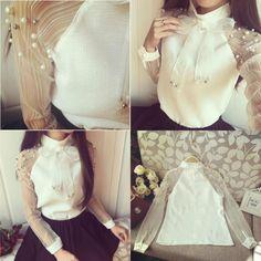 Bluza Mella-69 lei  #negasestipesite #pearls #bow #whiteblouse #elegant #chic #magazin #streetstyle #longsleve #bowandpearls #linkinbio  #fashionista #moda