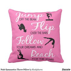 Shop Pink Gymnastics Throw Pillow created by Kookyburra. Gymnastics Gifts, Sports Decor, Gymnasts, Hand Painted, Throw Pillows, Pink, Soccer, Dance, Embroidery