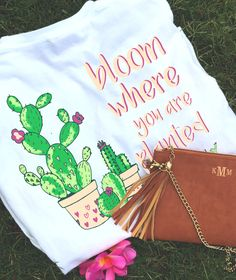 "NEW Long Sleeve Monogrammed Cactus T Shirt! It says ""Bloom Where You Are Planted"" and features your monogram on the front! LOVE! Get yours now at Marleylilly.com! #cactusshirt"