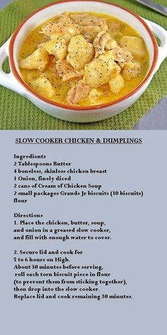 Recipes Crock Pot Crock pot chicken and dumplings **like Cindy's (sort of) ***Cindy says - I u. Recipes Crock Pot Crock pot chicken and dumplings **like Cindy's (sort of) ***Cindy says - I u. Slow Cooker Huhn, Crock Pot Slow Cooker, Slow Cooker Recipes, Cooking Recipes, Healthy Recipes, Fruit Recipes, Rice Recipes, Crock Pot Food, Crockpot Dishes