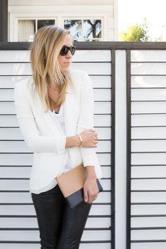 White Blazer with Black Leather