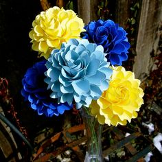 The  Full Bloom Dahlia Handmade Paper Flower   - set of 5 flowers  -  Mix of  Blues and Yellow - Stems Included -  Custom order available