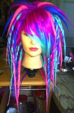 Made To Order Scene Girl Medium/Long Length Full Dread Wig Cyber Goth Punk Rave Dubstep Kawaii Scene Hair. $260.00, via Etsy.