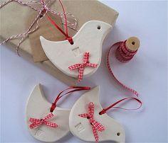 white ceramic hanging bird decoration by little brick house ceramics | notonthehighstreet.com
