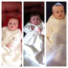All the boys, around the same age, dressed in the family christening robe!