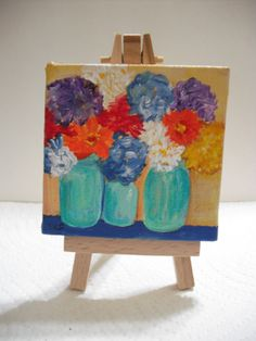Zinnias and hydrangeas in Canning Jars painting  on  Mini Canvas with Easel, 3 x 3