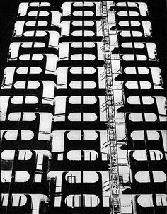 Facade of the first communal skyscraper at Plac Grunwaldzki, Wrocław, arch.
