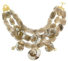 Tony Duquette (American, 1914-1999), 1990s. A smoky quartz, amonite, shell and vermeil necklace, length 18in (45.8cm). Sold for $1,708
