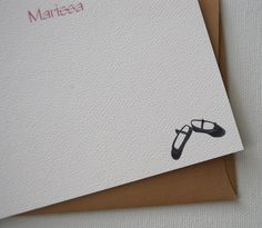 Ballet Slippers Personalized Note Cards by HappenstancePaper, $20.00