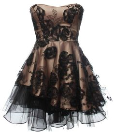 Midnight Champagne Dress: Features a beautiful sweetheart neckline with padded bust for full support, figure-flattering princess seams at the bodice, supremely thick champagne fabric peppered with ornate black gauze roses, and a flared asymmetrical tulle skirt to finish.