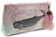 Papaya Art Laughing Whale Graphic Arts Design Oil Cloth Make-up or Accessory Travel Bag by Papaya Art. $18.99. Beautiful print on oil cloth zippered pouch. 10 in x 5 in x 2 in base. Pink scallop print microfiber lining. Wipes clean. Vegan-friendly. Small accessory bags help you organize your life on the go! Perfect for make-up, art supplies, tech gadgets, medicine bottles, and life's daily ephemera. Lined with pink scallop design microfiber lining and zip closes wi...