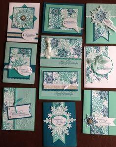 Festive flurry cards using 5 sheet wonder templates