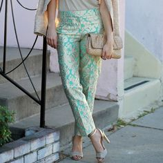 J. Crew Collection Brocade Cafe Pants SO stunning and sold out everywhere! Like new, only worn once. City fit. Gorgeous Tiffany blue with gold gilded brocade detail. Size 00 petite. No trades!! 10161535gwpg J. Crew Pants Ankle & Cropped