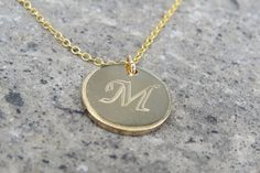Letter Necklace  Gold Initial Necklace  Disc by RomisJewelry
