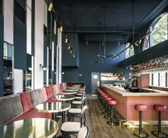 Designed by Framework Studio, Waldeck bar in Amsterdam features many of the classic hospitality materials and colours applied in an unexpected way. Bar Interior, Restaurant Interior Design, Retail Interior, Commercial Interior Design, Commercial Interiors, Module Design, Design Café, Design Ideas, Modern Restaurant