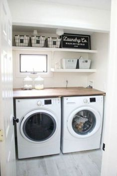 - Living Rooms - A budget-friendly farmhouse laundry room that's small, yet makes a large impact. A budget-friendly farmhouse laundry room that's small, yet makes a large impact. The space is not only pretty, but functional for your laundry needs! Laundry Room Remodel, Laundry Room Cabinets, Laundry Room Organization, Organization Ideas, Laundry Storage, Storage Ideas, Diy Cabinets, Storage Shelves, Storage Closets