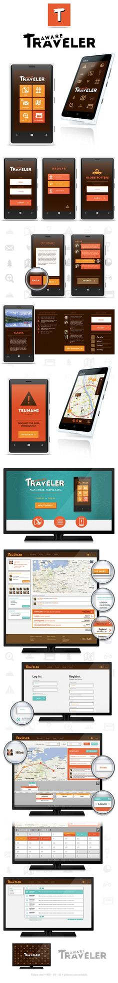 """Aware Traveler *** """"AwareTraveler is a system, which consists of a mobile phone application intended for people who travel individually or in a group of friends. Through all the features implemented it ensures the highest level of safety on every stage of your journey."""" by Zuzanna Rogatty, via Behance *** #gui #windwosphone #travel"""