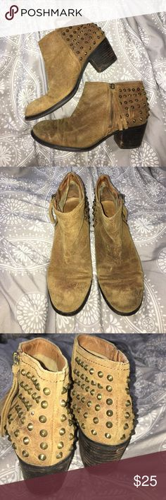 Distressed Studded ALDO booties Super cute tan Suede booties from ALDO. Pretty worn but still in great shape. Look great with any outfit. Size 8! Aldo Shoes Ankle Boots & Booties