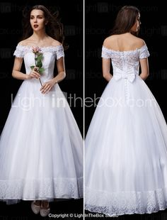 A-line/Princess Wedding Dress - White Ankle-length Off-the-shoulder Lace/Tulle 2015 – $171.59