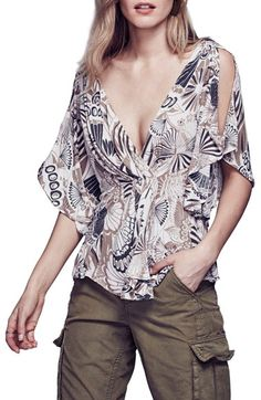 Free shipping and returns on Free People 'Amour' Abstract Floral Print Top at…